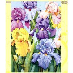 """Blooming Iris"" Printed Seasonal Banner; Polyester 29""x43"" - #springtime #springflowers #gardenflag #flagsaflying"