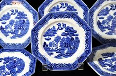 6 Blue Willow Bread and Butter Plates Set by SouthernSisAntiques