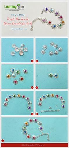 How to Make Simple Handmade Flower Bracelet for Girls from LC.Pandahall.com