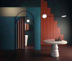 Rendering by featuring Discus 2 Colour Architecture, Interior Architecture, Interior And Exterior, Ideas Actuales, Wall Design, House Design, Set Design, Memphis Design, Retro Home
