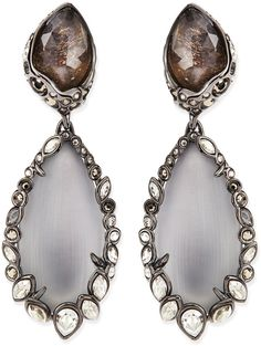 Alexis Bittar Crystal-Trim Lucite Clip-On Earrings, Gray on shopstyle.com