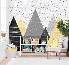Kids Mountains oversize wall art wallpaper. This unique design is printed on our fabric wallpaper material. The overall pattern repeats every 5 sheets so order just the amount that you need to fill your wallspace. For example, if you have a wall that is 8ft wide, just order 4 sheets (you will receive sheets 1 thru 4 as shown in image #2). Great for a kids playroom or background for a rock wall! **GET 20% OFF** When you spend $300 or more. CODE: ACCENTUWALL20 [Size Options] 24w x 96h 24w x…