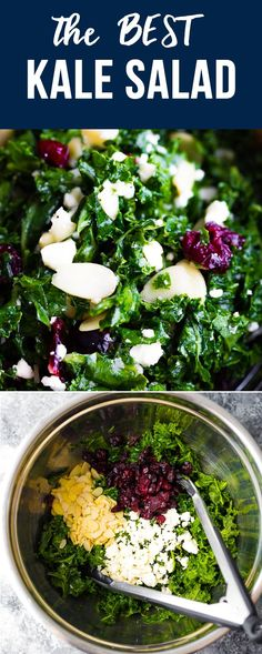Our staple kale salad- with feta cheese dried cranberries sliced almonds and a tangy lemon vinaigrette this simple massaged kale salad recipe is the one we always turn to in a pinch. Massaged Kale Salad, Feta Salad, Salad With Feta Cheese, Shrimp Salad, Healthy Cooking, Healthy Recipes, Cooking Kale, Cooking Pasta, Meat Recipes