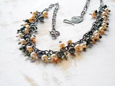 Pearl Cluster Necklace in Peach and Green Copper Wire by bluetina