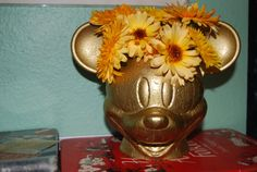 Gold Antiqued Mickey Mouse Planter Head