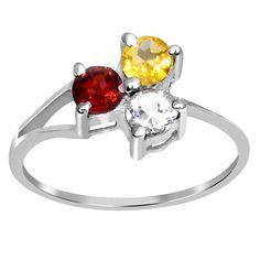 Orchid Jewelry 925 Sterling Silver 1 1/7 Carat Garnet, Topaz and Citrine Ring (925 Silver-Ring Size-7), Women's, Red