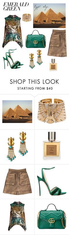 """""""Egypt, Giza"""" by vanility ❤ liked on Polyvore featuring Cartier, Eight & Bob, Marc by Marc Jacobs, Casadei, Halpern and Gucci"""