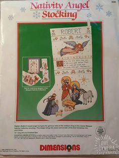 Nativity Angel Christmas Stocking Cross Stitch Kit New Baby Jesus Dimensions NIP #Dimensions #ChristmasStocking