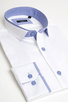 Nice white dress shirt for men by Franck Michel Formal Shirts, Casual Shirts For Men, Men Casual, Dress Shirt, Men Dress, Suit Fashion, Mens Fashion, Mens Kurta Designs, Only Shirt