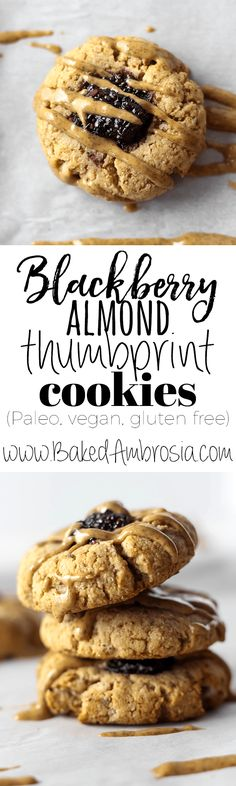 These easy Blackberry Almond Thumbprint Cookies are simple, delicious, and made with only five healthy ingredients! Vegan Baking Recipes, Best Cookie Recipes, Gluten Free Cooking, Gluten Free Desserts, Dairy Free Recipes, Healthy Baking, Vegan Desserts, Vegetarian Recipes, Blackberry Dessert Recipes