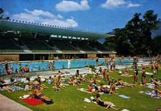 Bathers relaxing on the grass at the Newlands swimming pool. A popular spot in the summer with people living in Cape Town's southern suburbs.  This image was scanned from The Beautiful Peninsula - A picture tour of the Cape Peninsula, and is not my o Great Picture, Inspiring, Keep Up The Great Work, {also|by the way|if yo