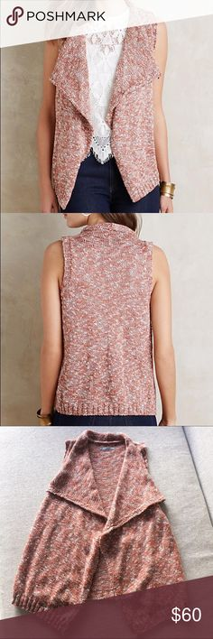 """Anthropologie Shawled Avie Vest Sz XS/S NWOT Renee's NYC Accessories from Anthropologie Shawled Avie Vest. Size XS/S. Cotton & polymer. 26.5"""" L. Never worn. This beautiful, versatile piece is great throughout many seasons. Anthropologie Jackets & Coats Vests"""