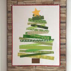 Washi Tape Weihnachtsbaum - Anleitung - Andrea Kollath - Tutorial - Wandbehang - Quilt - Weihnachtsdekoration - Raw Edge Patchwork - Streifen nähen -