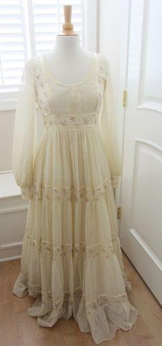 Vintage 1970s Gunne Sax Prairie Dress Jessica McClintock 9 Maxi | eBay