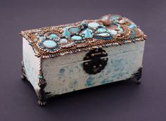 Bead embroidered box in turquoise by JirikiDesigns on Etsy, €200.00