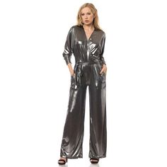 Ex TopShop Lame Strappy Jumpsuit Silver Wide Leg Chic Celebrity