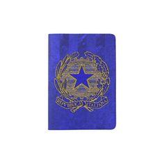 Repubblica Italiana Blu Ora Foglio Passport Holder