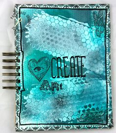 """Art journal by amazing artist Linda Brun. She used Eye stamps here :) see with the heart"""" and braid"""". Mixed Media Tutorials, Handmade Notebook, 3rd Eye, Eye Products, Journalling, Art Journals, Create, Notebooks, Artist"""