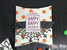 Get Crafty with Lisa:  Happy Haunting Pillow Boxes Blog Hop -- Day 2!  This treat box features Stampin' Up!'s Sweet Hauntings Stamp Set, Happy Haunting Designer Series Paper and Spider Web Doilies, by Lisa Rhine, www.getcraftywithlisa.com