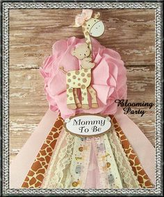 Pink Giraffe Mommy To Be Corsage Pink Safari Baby by BloomingParty