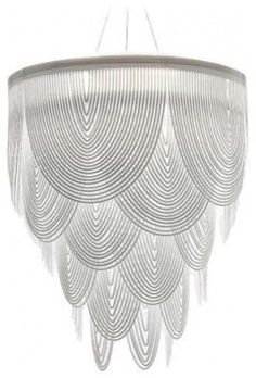Ceremony Chandelier  by Marianella Hoffmann, White Swags of Opalflex are Bent to Create an Illuminating Scalloped Masterpiece.