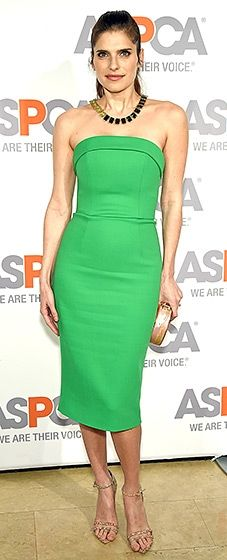 Gorgeous in green! The Million Dollar Arm actress wore a sleek strapless emerald Christian Siriano dress paired with an Edie Parker clutch.