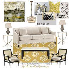 love fabric gray and yellow combination. sita m.