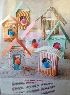 Vogelhuisjes van luciferdoosjes... leuk! Manualidades con niños, casitas de cartón