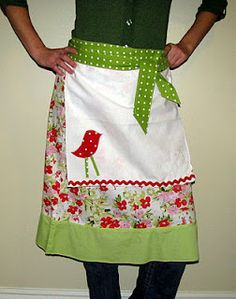 upcycled skirt to apron...so cute!