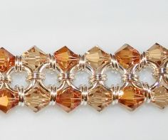 Topaz and Copper Japanese 8 in 2 Crystal Chainmaille Bracelet in Sterling Silver - Picmia Wire Wrapped Jewelry, Wire Jewelry, Jewelry Crafts, Beaded Jewelry, Beaded Bracelets, Jewellery, Jewelry Ideas, Silver Jewelry, Bijoux Design
