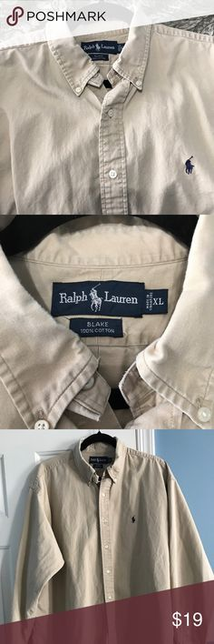 Khaki Men's Ralph Lauren Polo Blake XL Button Down Handsome Khaki Button down long sleeve shirt from Polo by Ralph Lauren. XL, 100% Cotton with button collars. Dark blue Pony. Sleeves 24 inches from cuff to shoulder seam, front top collar to bottom 28 1/2 inches. Thanks for stopping by and looking around! Polo by Ralph Lauren Shirts Casual Button Down Shirts