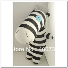 free shipping 100% handmade DIY stuffed sock animals doll baby toys sock zebra