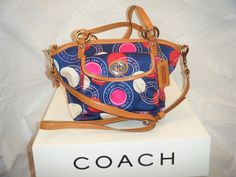 3. Coach Polka Dot Print Leah Tote. Starting at $10 on Tophatter.com! Pink Polka Dots, Polka Dot Print, Coach Handbags, Coach Bags, Tan Leather, Shoulder Strap, Cotton Fabric, Style, Swag