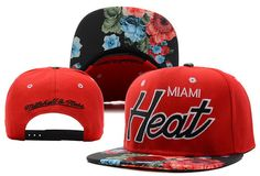 NBA Miami Heat Snapback Hats Mitchell And Ness Red Flower 8313! Only $8.90USD