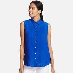 Women's Premium Linen Sleeveless Shirt