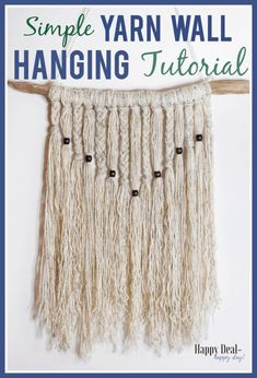 Simple Yarn Wall Hanging Tutorial - learn how to make a boho style wall hanging with driftwood yarn and wooden beads! Simple Yarn Wall Hanging Tutorial - learn how to make a boho style wall hanging with driftwood yarn and wooden beads! Homemade Christmas Gifts, Homemade Gifts, Diy Christmas, Boho Diy, Boho Decor, Handmade Crafts, Diy Crafts, Room Crafts, Yarn Wall Hanging