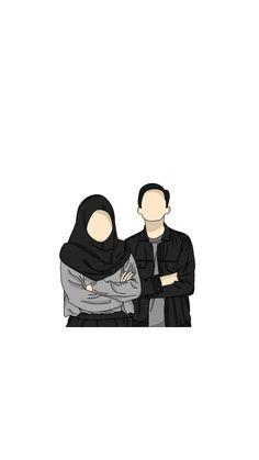 Cute Couple Drawings, Cute Couple Art, Anime Couples Drawings, Cute Drawings, Cute Wallpaper Backgrounds, Cartoon Wallpaper, Cute Wallpapers, Cute Muslim Couples, Cute Couples