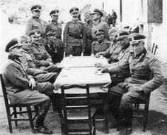 Officers of a Russian emigre unit of the German army formed in Yugoslavia. Most of these Russians sought refuge in Yugoslavia after the Bolshevik Revolution. During WW2, the unit reached 17,000 and fought nonstop in anti-partisan operations. When defeat came, the Russians fought the rear guard action to allow the German forces to evacuate Belgrade largely unscathed. The unit wore German uniforms with Tsarist insignia.