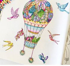 Hot air balloon, garden, birds, whimsical,enchanted forest coloring book, secret garden, adult coloring, purple, beautiful, colorful, completed work, completed picture, inspiration,