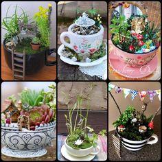 Teacup Mini Gardens Ideas to create your own Mini Fairy Terrarium Gardens with these miniature terrarium gardens, small water gardens, or combine the both. #minigardens #fairygarden