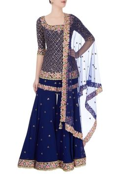 Buy Blue Color Sharara Suit by Akanksha Singh at Fresh Look Fashion Shadi Dresses, Pakistani Dresses, Indian Dresses, Pakistani Suits, Punjabi Suits, Sharara Designs, Indian Wedding Outfits, Indian Outfits, Bridal Outfits
