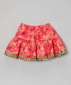 Loving this Coral Rose Cheetah Twirl Skirt - Toddler & Girls on #zulily! #zulilyfinds