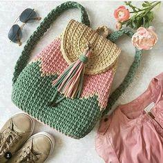 Crochet Bag Crochet Idea- pattern to be written - Bag Crochet, Crochet Backpack, Crochet Shell Stitch, Crochet Handbags, Crochet Purses, Crochet Crafts, Crochet Hooks, Crochet Projects, Crochet Baskets