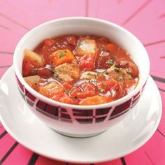 Pork Vegetable Soup Recipe -Chockfull of tender pork, veggies and savory flavor, this nutritious soup fills the house with a wonderful aroma as it cooks! Deb Hall - Huntington, Indiana