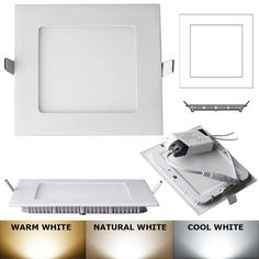 15w square led recessed light ceiling bulb lamp warm white 2700k3200k dimmable - Square Recessed Lighting