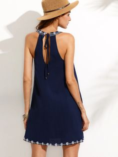 Shop Embroidered Cutout Tie Back Halter Swing Dress online. SHEIN offers Embroidered Cutout Tie Back Halter Swing Dress & more to fit your fashionable needs.Shop [good_name] at ROMWE, discover more fashion styles online. Dress P, Swing Dress, Chiffon Dress, Fashion Over 50, Fashion 2018, Womens Fashion, Linen Dresses, Dresses With Sleeves, Frock Fashion
