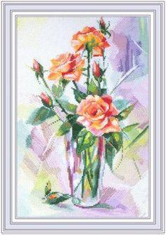 Вышивка крестом розы в вазе. Вышивка крестом цветы в вазе схемы   Я Хозяйка