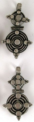 Old etched coin silver amulets | Gurage People of Ethiopia.