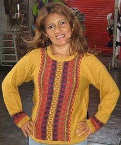 Gelber bestickter #Damen #Pullover aus #Alpakawolle