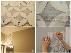 Easy Paint Designs For Walls Easy Paint Designs, Wall Stencil Designs, Wall Stencil Patterns, Stencil Diy, Wall Design, Stenciling, Geometric Stencil, Geometric Wall, Geometric Flower